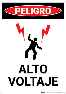 High Voltage With Graphic Spanish - Portrait Wall Sign