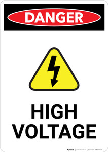 High Voltage With Hazard Icon - Portrait Wall Sign