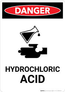 Hydrochloric Acid with Icon - Portrait Wall Sign