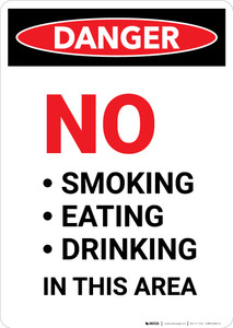 No Smoking Eating Drinking in This Area - Portrait Wall Sign