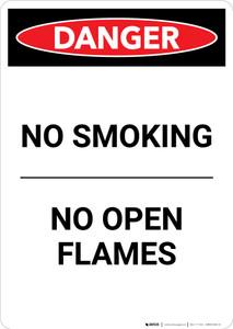 No Smoking No Open Flames - Portrait Wall Sign