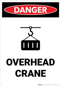 Overhead Crane with Icon - Portrait Wall Sign