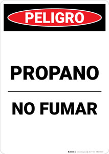 Propane No Smoking Spanish - Portrait Wall Sign