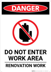 Renovation Work Do Not Enter with Icon - Portrait Wall Sign