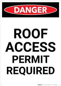 Roof Access Permit Required - Portrait Wall Sign