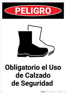Safety Footwear Mandatory Spanish with Icon - Portrait Wall Sign