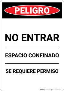 Spanish Permit Required No Entry - Portrait Wall Sign