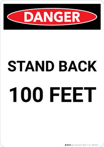 Stand Back 100 Feet - Portrait Wall Sign
