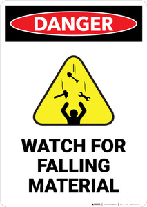Watch For Falling Material with Hazard Icon - Portrait Wall Sign