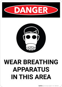 Wear Breathing Apparatus in This Area with Icon - Portrait Wall Sign