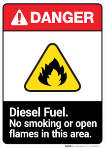 Diesel Fuel No Smoking or Open Flames ANSI - Portrait Wall Sign