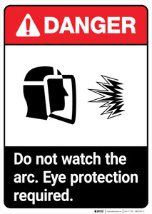 Do Not Watch the Arc ANSI - Portrait Wall Sign