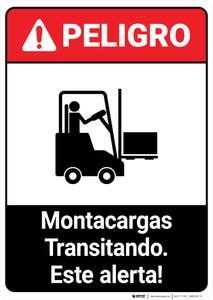 Forklift Traffic Spanish ANSI - Portrait Wall Sign