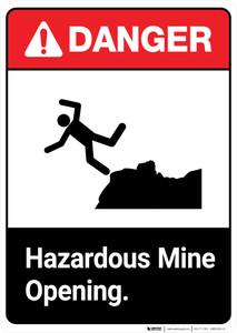 Hazardous Mine Opening - Portrait Wall Sign