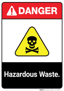 Hazardous Waste ANSI - Portrait Wall Sign