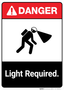 Light Required ANSI - Portrait Wall Sign