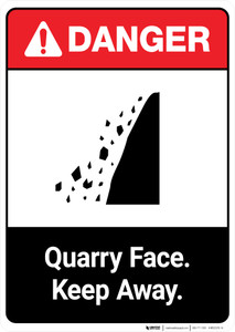 Quarry Face Keep Away ANSI - Portrait Wall Sign