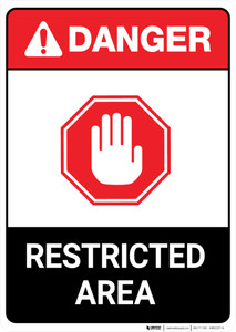 Restricted Area With Icon ANSI - Portrait Wall Sign
