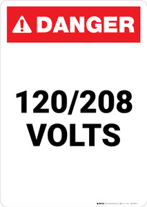 120-208 Volts - Portrait Wall Sign