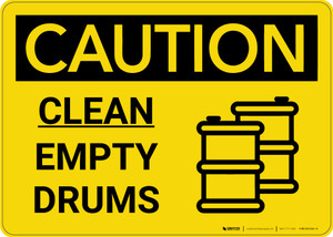 Caution: Clean Empty Drums Landscape with Icon