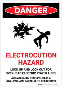 Danger: Electrocution Hazard Look Up/Out for Overhead Power Lines Portrait