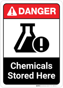 Danger: Chemicals Stored Here ANSI Portrait with Icon