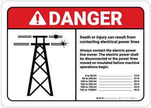 Danger: Death/Injury Can Result From Contacting Electrical Power Lines ANSI Landscape