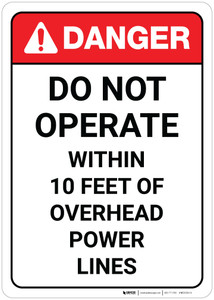 Danger: Do Not Operate Within 10 Feet of Overhead Powerlines ANSI Portrait