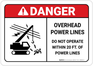 Danger: Do Not Operate Within 20 Feet of Powerlines with Icon ANSI Landscape
