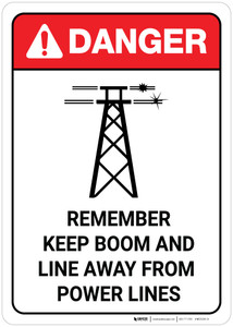 Danger: Keep Boom Away From Power Lines with Icon ANSI Portrait