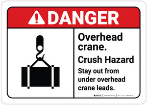 Danger: Overhead Crane Crush Hazard with Icon ANSI Landscape
