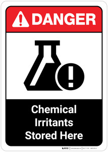 Danger: Chemical Irritants Stored Here ANSI Portrait
