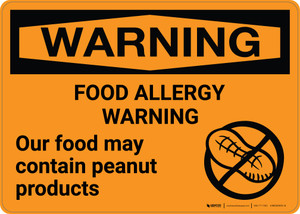 Warning: Food Allergy Warning - Food May Contain Peanut Products Landscape