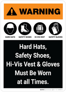 Warning: PPE Must Be Worn At All Times Portrait