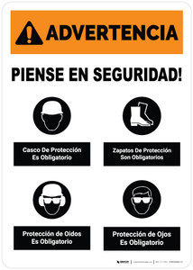 Warning: Think Safety PPE Must Be Worn Spanish Portrait
