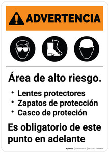 Warning: Hazardous Area PPE Required Spanish Portrait