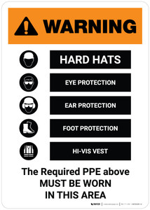 Warning: The Required PPE Above Must Be Worn Portrait