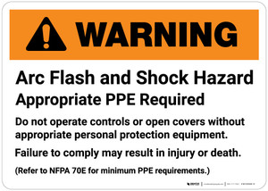 Warning: Arc Flash and Shock Hazard - Appropriate PPE Required Landscape
