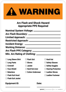 Warning: Arc Flash and Shock Hazard PPE Checklist Portrait