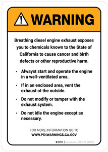 Warning: Prop 65 - Diesel Engine Exposure Sign