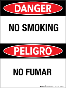 Danger: No Smoking - Bilingual Wall Sign