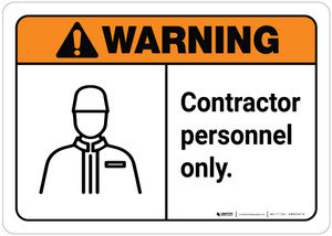 Warning: Contractor Personnel Only ANSI Landscape with Icon