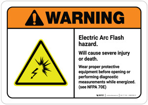 Warning: Electric Arc Flash Hazard - Wear Proper PPE Before Opening or Performing Diagnostic ANSI Landscape