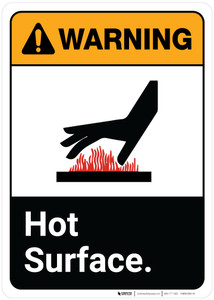 Warning: Hot Surface ANSI Portrait with Icon