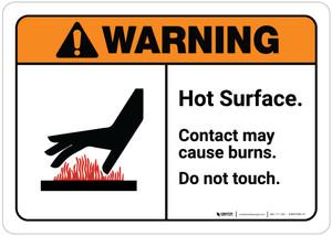 Warning: Hot Surface - Contact May Cause Burns ANSI Landscape