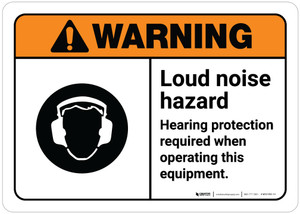 Warning: Loud Noise Hazard - Hearing Protection Required When Operating Equipment ANSI with Icon