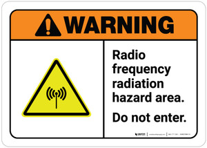 Warning: Radio Frequency Radiation Hazard Area ANSI Landscape with Icon