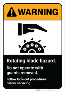 Warning: Rotating Blade Hazard - Do Not Operate with Guards Removed ANSI Portrait