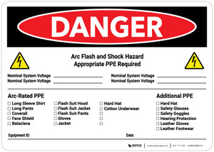 Danger: Arc Flash & Shock Hazard PPE Checklist Landscape