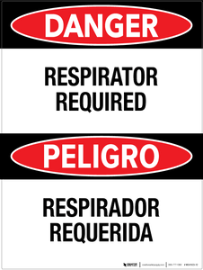 Danger: Respirator Required - Bilingual Wall Sign